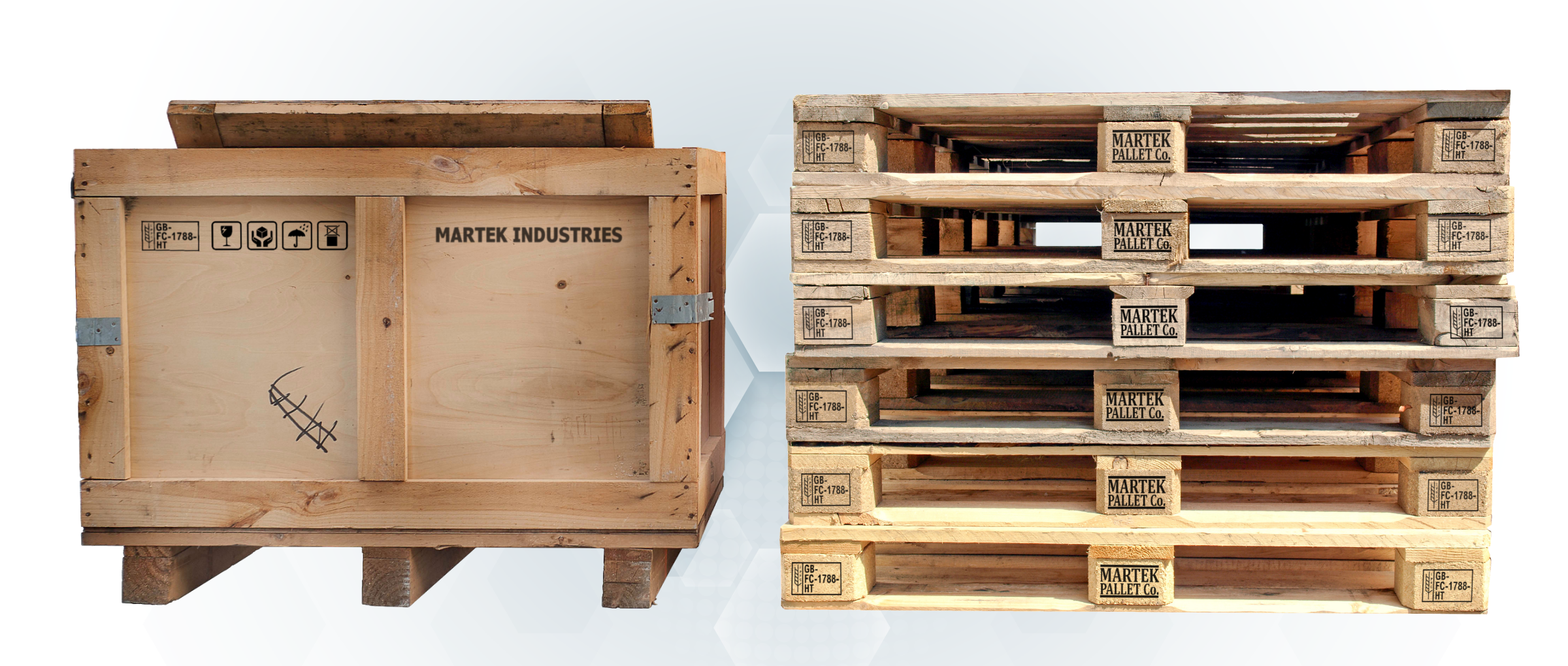 Pallets and shipping crate with ISPM15 printed by inkjet