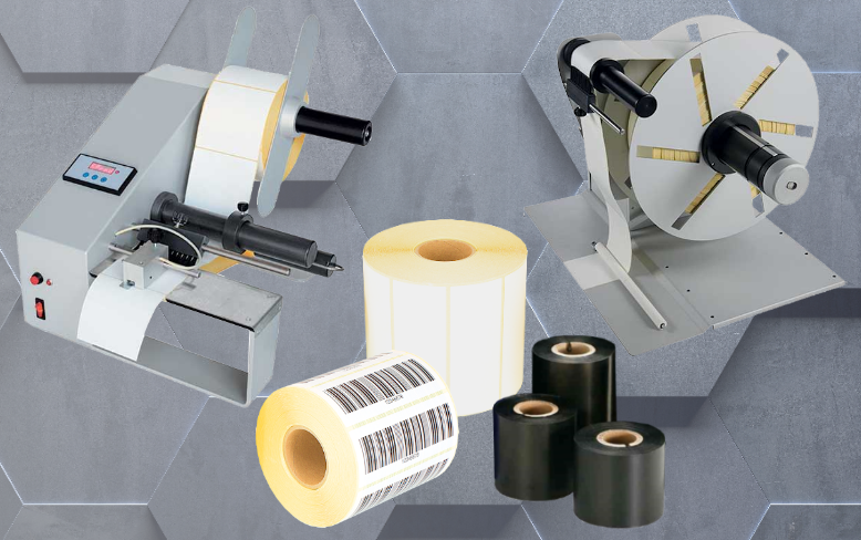 Dispensers, rewinders, labels and ribbons